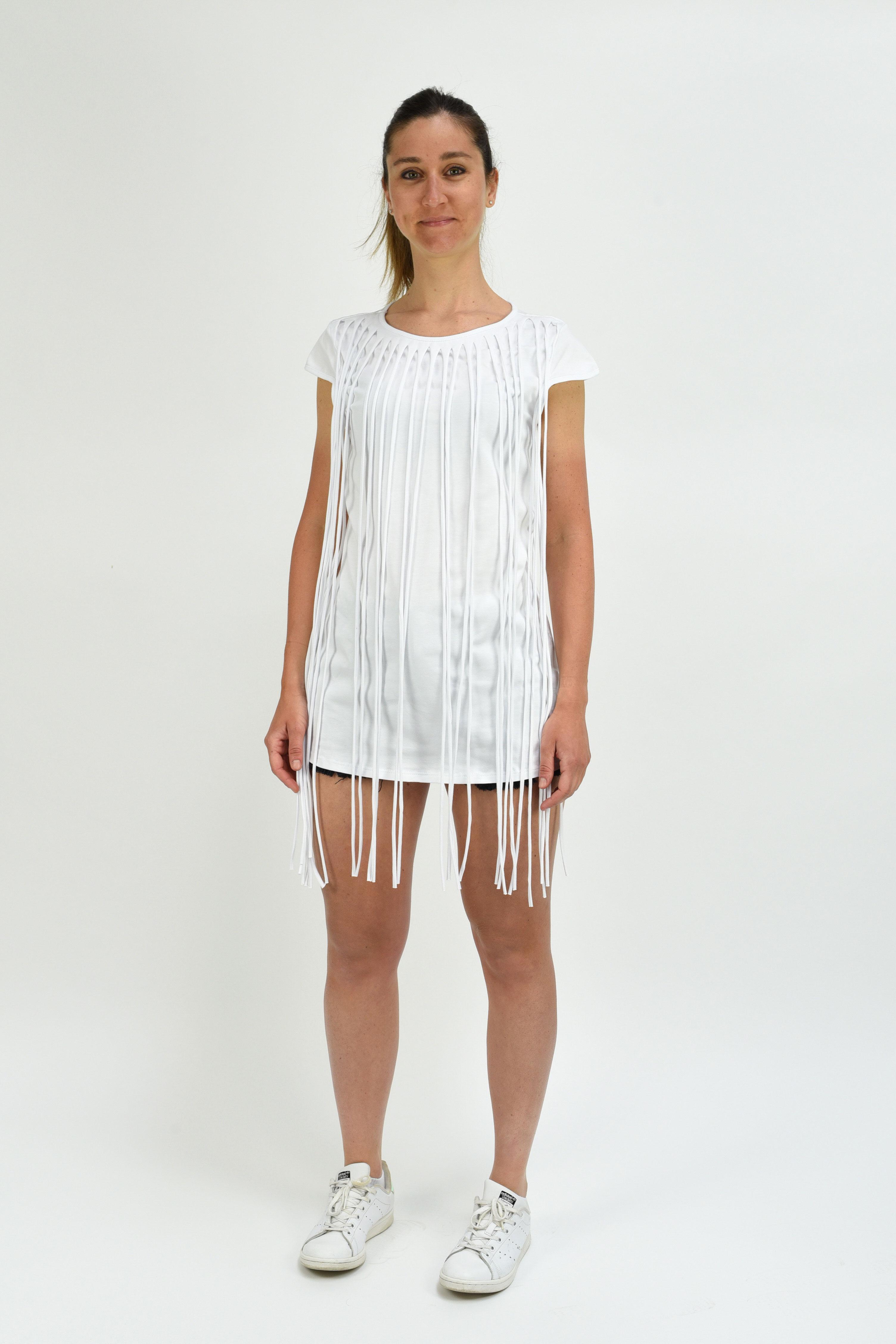 meet 94f99 9413c Mini-abito con frange