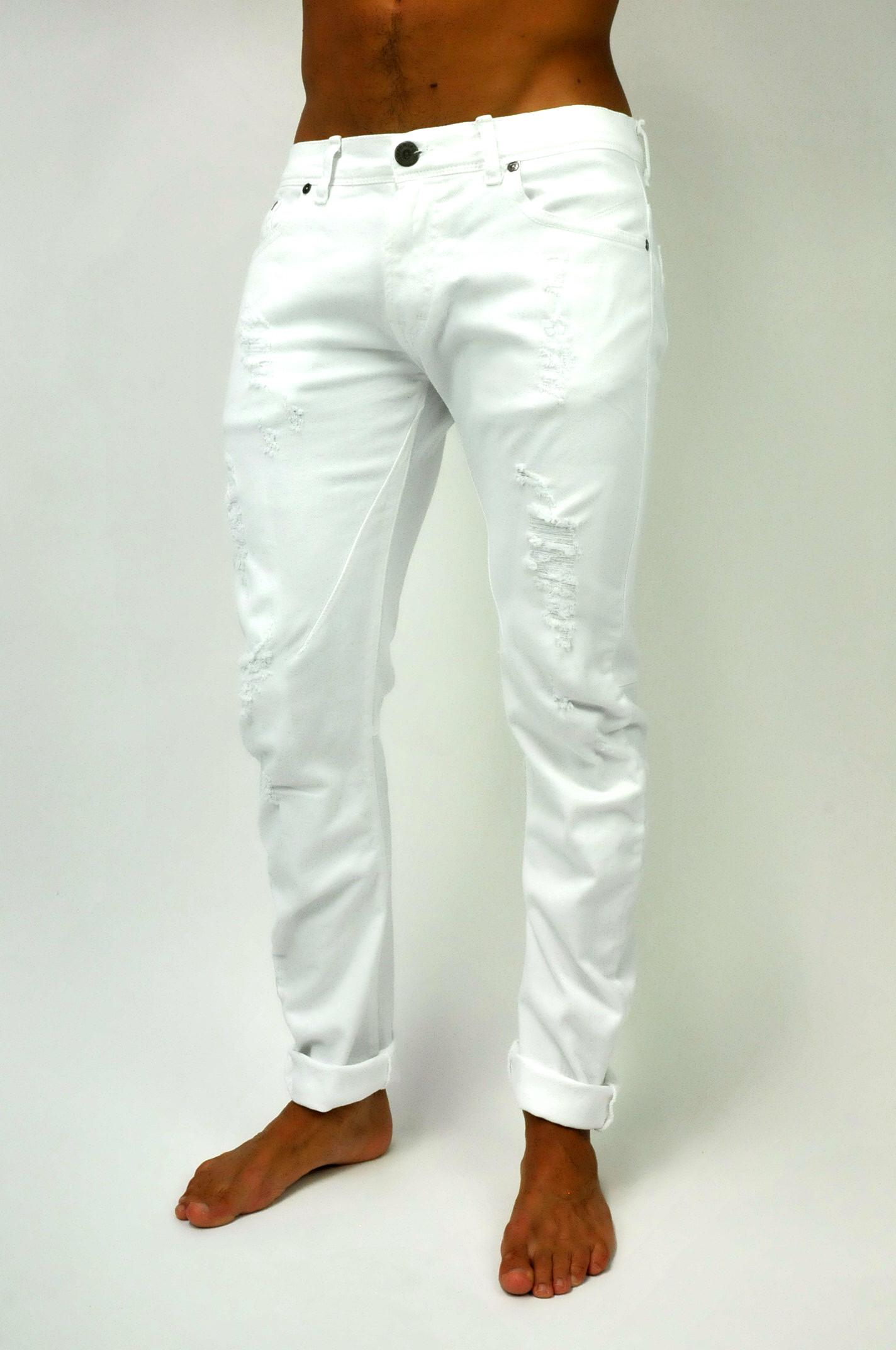 design senza tempo 47526 4d6eb Jeans demin bianco con rotture