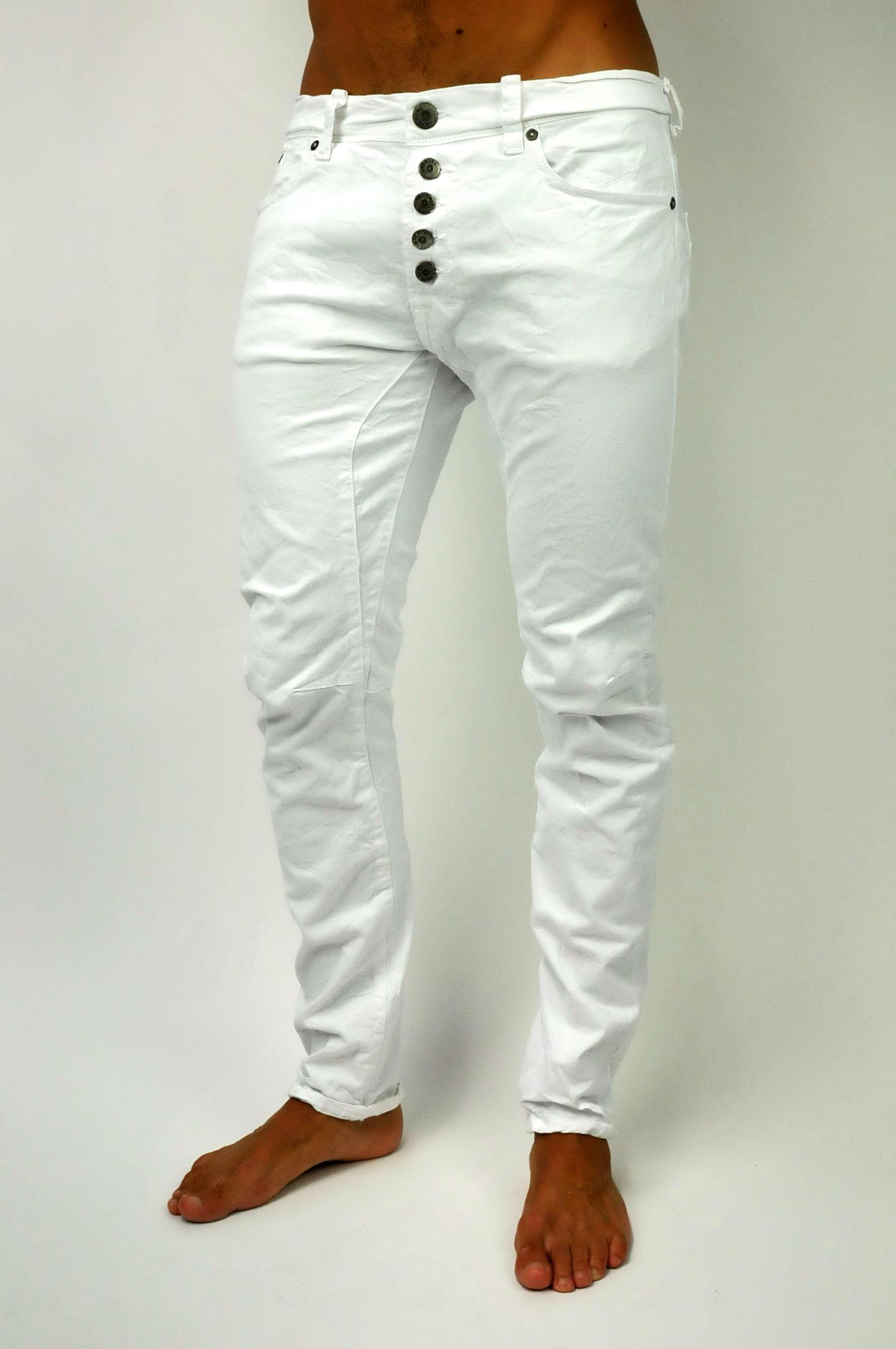 nuovo stile del 2019 scarpe temperamento originale più votato Pantalone bianco bottoni a vista
