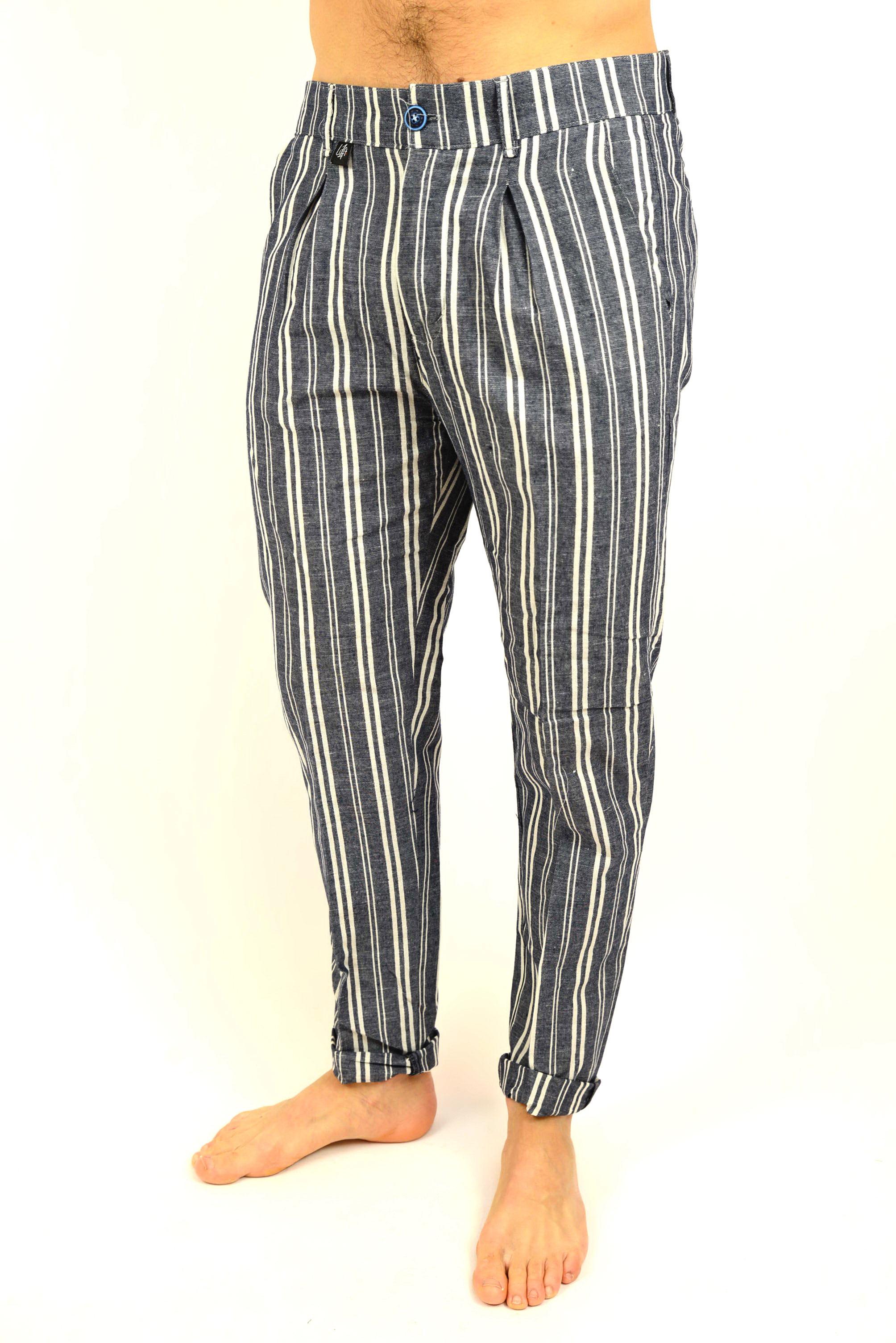 nuovi stili 0b976 94dbe Pantalone lino rigato